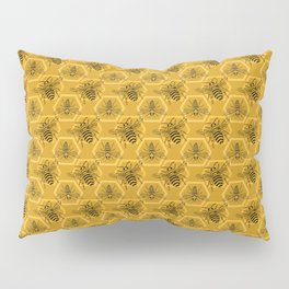 Honey Bees on a Hive of Hexagons Pillow Sham