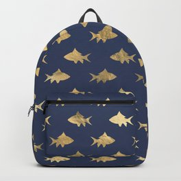Elegant Gold Fishes Pattern Backpack
