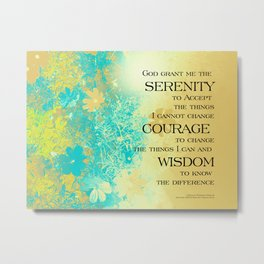 Serenity Prayer Blue Gold Flowers Metal Print