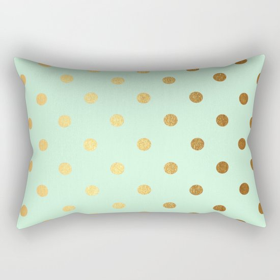 Gold polka dots on mint backround - Luxury greenery pantone pattern Rectangular Pillow