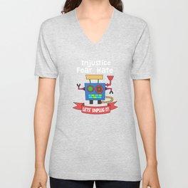 Funny Sarcastic Novelty Unplug Tshirt Design LET S UNPLUG IT! Unisex V-Neck