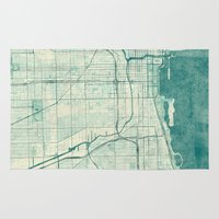 chicago map Area & Throw Rugs featuring Chicago Map Blue Vintage by City Art Posters