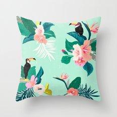 Mint Magic Tropical Throw Pillow