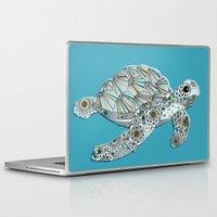 sea turtle Laptop & iPad Skins featuring Sea Turtle by Rachel Russell