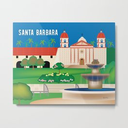 Santa Barbara, California - Skyline Illustration by Loose Petals Metal Print