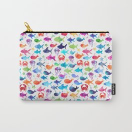 Rainbow Watercolor Under The Sea Marine Carry-All Pouch