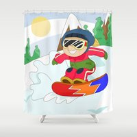 snowboarding Shower Curtains featuring Winter Sports: Snowboarding by Alapapaju