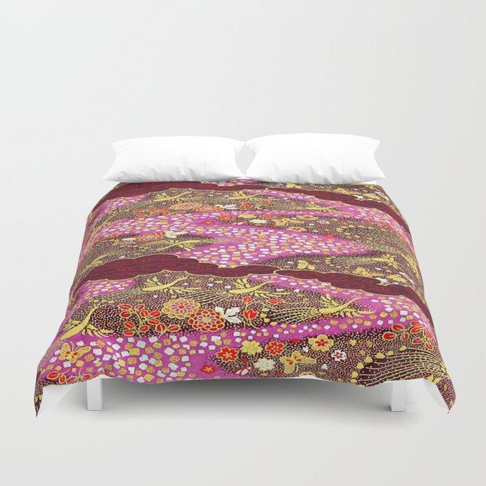 Intricate Yuzen Pattern Duvet Cover