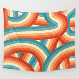 Red, Orange, Blue and Cream 70's Style Rainbow Stripes Wall Tapestry