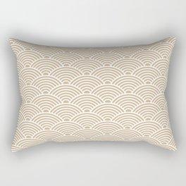 Japanese Waves (White & Tan Pattern) Rectangular Pillow