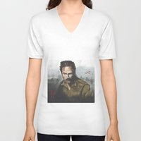 rick grimes V-neck T-shirts featuring Walking Dead -Rick Grimes by NorthLight