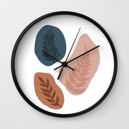 Neutral Colour Block Leaf Silhouettes Wall Clock
