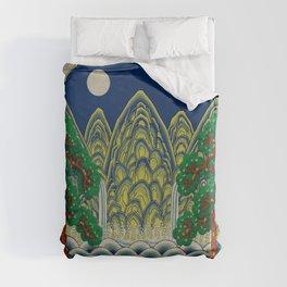 Sun, Moon and 5 peaks: King's painting Type A (Minhwa-Korean traditional/folk art) Duvet Cover