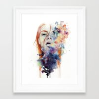 line Framed Art Prints featuring this thing called art is really dangerous by agnes-cecile