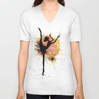 dancer V-neck T-shirts featuring dancer by liva cabule