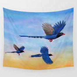Taiwan Blue Magpies (2) Wall Tapestry