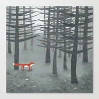 ombre Canvas Prints featuring The Fox and the Forest by Nic Squirrell