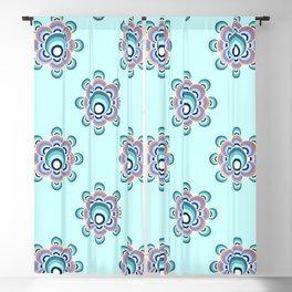 70's flower Aqua palette Blackout Curtain