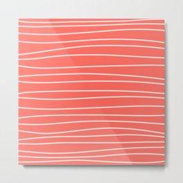 Coral Brush Lines Metal Print
