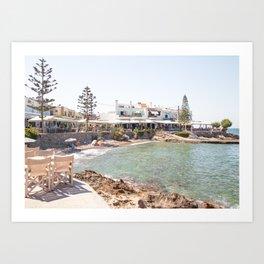 White Village In Greece Photo | Summer On Crete Island Beach Art Print | Travel Photography Art Print