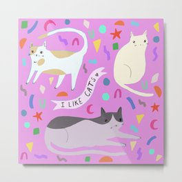 Confetti Cats Metal Print