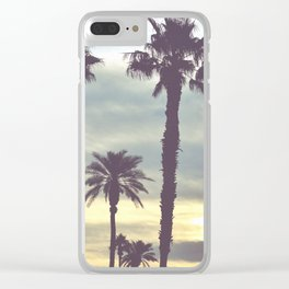 Los Angeles Sunset Palm Trees Clear iPhone Case