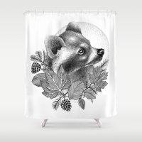 raccoon Shower Curtains featuring RACCOON by Thiago Bianchini