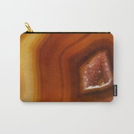 Orange Burnt Red Geode Raw Stone Crystal Agate Boho Hippie Fine Art  Print Carry-All Pouch