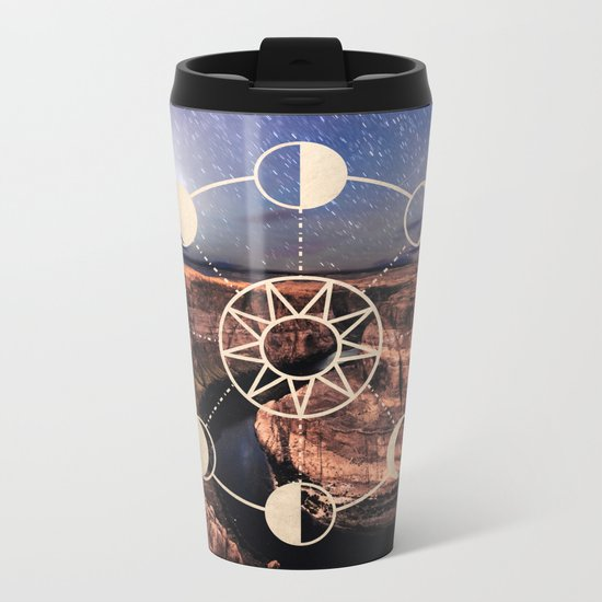 Mandala Southwest Desert Sun and Moon Phases Metal Travel Mug
