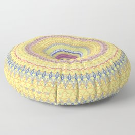 Bright Yellow Sunshine Mandala Floor Pillow