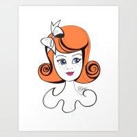 Cute Vintage Fashion Doll Sketch (Orange hair & pink lips)  Art Print