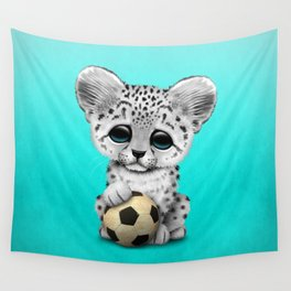 Snow leopard Cub With Football Soccer Ball Wall Tapestry