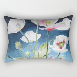 Papaver Somniferum and Amethyst Crystal on a Stary Night at Dawn Rectangular Pillow