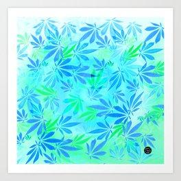 Blue Mint Cannabis Swirl Art Print