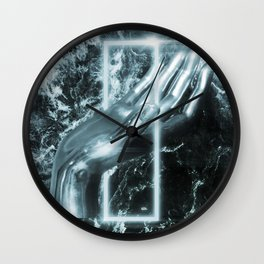 Silver minimal hand on box. Wall Clock