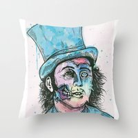 willy wonka Throw Pillows featuring Wonka by Paul Granese