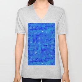 Tie Dye Shibori Water Cubes in Ocean Blue Unisex V-Neck
