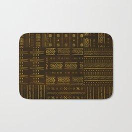 Gold African Tribal Pattern on rich brown texture Bath Mat