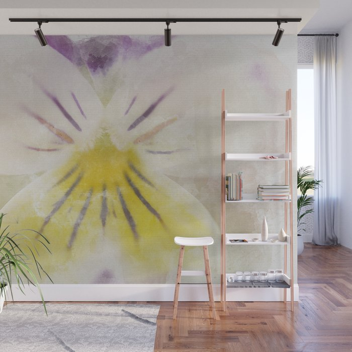 Oh Violet Floral Nature Photograph with Watercolor Painting Effects Graphic Design Wall Mural