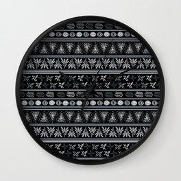Bohemian Mud Cloth Black & Grays Wall Clock
