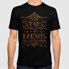 To the stars who listen MEDIUM Black Mens Fitted Tee