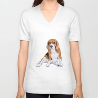 beagle V-neck T-shirts featuring Beagle by hadkhanong