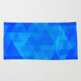 Bright blue and celestial triangles in the intersection and overlay. Beach Towel