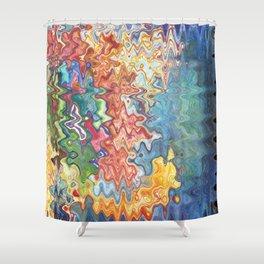 Abstract Rainbow Splashing Waves Free Flow of Creation Shower Curtain