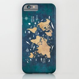 World Map Oceans Life blue #map #world iPhone Case