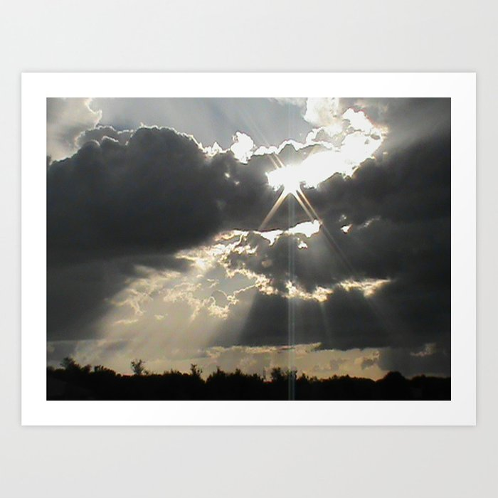 A silver lining clouds gray art black white print storm