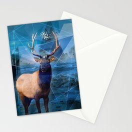 Geometric Elk Stationery Cards