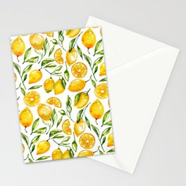 lemon watercolor print Stationery Cards