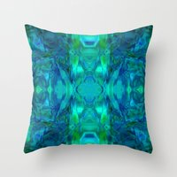 stained glass Throw Pillows featuring Stained-glass.  by Assiyam