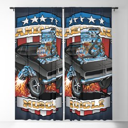 American Muscle Patriotic Classic Muscle Car Cartoon Illustration Blackout Curtain